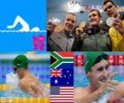 Men's swimming 100 metre breaststroke podium, Cameron van der Burgh (South Africa), Christian Sprenger (Australia) and Brendan Hansen (United States) - London 2012 - style