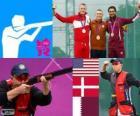 Shooting men's skeet podium, Vincent Hancock (United States), Anders Golding (Denmark) and Nasser Al - Attiyah (Qatar) - London 2012 -
