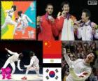 Fencing men's foil podium, Lei Sheng (China), Abuelkasem Alaaeldi (Egypt) and Choi Byung-Chul (South Korea) - London 2012 -