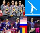Gymnastics women's artistic team all-around podium, United States, Russia and Romania - London 2012-