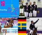Equestrian riding individual eventing podium, Michael Jung (Germany), Sara Algotsson Ostholt (Sweden) and Sandra Auffahrt (Germany) - London 2012-