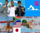 Swimming men's 200 metre butterfly podium, Chad le Clos (South Africa), Michael Phelps (United States), and Takeshi Matsuda (Japan) - London 2012 -