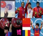 Weightlifting men's 69 kg podium, Lin Qingfeng (China), Triyatno Triyatno (Indonesia) and Constantin Martin (Romania) - London 2012 -