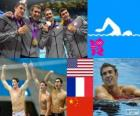 Swimming men's 4 × 200 metre freestyle relay podium, United States, France and China - London 2012-