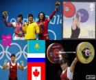 Women's 63 kg weightlifting podium, Maiya Maneza (Kazakhstan), Svetlana Tsarukayeva (Russia) and Christine Girard (Canada) - London 2012-