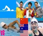 Podium swimming 200 m individual women's combined, Shiwen Ye (China), Alicia Coutts (Australia) and Caitlin Leverenz (United States) - London 2012 -
