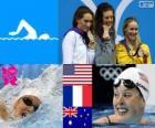 Women's 200 metre freestyle swimming podium, Allison Schmitt (United States), Camille Muffat (France) and Bronte Barratt (Australia) - London 2012 -