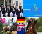 Podium equestrian eventing team, Germany, United Kingdom and New Zealand - London 2012-