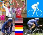 Women's road time trial cycling podium, Kristin Armstrong (United States), Judith Arndt (Germany) and Olga Zabelinskaya (Russia) - London 2012-