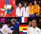 Podium female Judo - 70 kg, Lucie Decosse (France), Kerstin Thiele (Germany) and Yuri Alvear (Colombia), Edith Bosch (Netherlands) - London 2012-