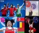 Women's 69 kg weightlifting podium, Rim Jong-Sim (North Korea), Roxana Cocoş (Romania) and Maryna Shkermankova (Bilorrusia) - London 2012-