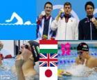 Men's swimming 200 metre breaststroke podium, Daniel Gyurta (Hungary), Michael Jamieson (United Kingdom) and Ryo Tateishi (Japan) - London 2012 -