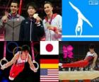 Artistic gymnastics men's artistic individual all-around podium, Kohei Uchimura (Japan), Marcel Nguyen (Germany) and Danell Leyva (United States) - London 2012 -
