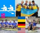 Podium rowing Women's quadruple sculls, Ukraine, Germany and United States - London 2012-