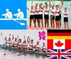 Podium rowing men's coxed eight, Germany, Canada and United Kingdom - London 2012-