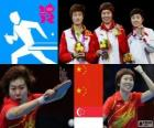 Podium table tennis women's single, Li Xiaoxia, Ding Ning (China) and Feng Tianwei (Singapore) - London 2012 -