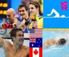 Swimming men's 100 metre freestyle podium, Nathan Adrian (United States), James Magnussen (Australia) and Brent Hayden (Canada) - London 2012 -