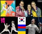 Podium fencing women's individual Sabre, Kim Ji-Yeon (South Korea), Sofia Velikaya (Russia) and Olga Jarlan (Ukraine) - London 2012 -