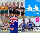 Podium rowing women's coxless pair, Helen Glover, Heather Stanning (United Kingdom), Kate Hornsey, Sarah Tait (Australia) and Juliette Haigh, Rebecca Scown (New Zealand) - London 2012-
