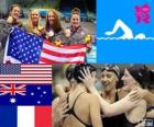 Podium swimming women's 4 × 200 metre freestyle relay, United States, Australia and France