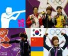 Women's 25 m pistol Shooting podium, Kim Jang - my (South Korea), Chen Ying (China) and Eric Kostevych (Ukraine) - London 2012 -