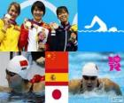 Women's 200 m butterfly swimming podium, Jiao Liuyang (China), Mireia Belmonte (Spain) and Natsumi Koshi (Japan) - London 2012 -