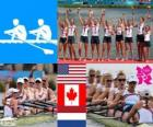 Rowing women's coxed eight podium, United States, Canada and Netherlands - London 2012 -