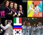 Women's foil team fencing podium, Italy, Russia and South and Korea - London 2012 -