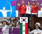 Podium archery individual female, Ki Bo-Bae (South Korea), Aida Román and Mariana Avitia (Mexico) - London 2012-
