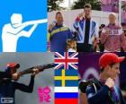 Podium shoting double trap men's, Peter Robert Wilson (United Kingdom), Hakan Dahlby (Sweden), and Vasily Mosin (Russia) - London 2012 -
