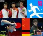 Podium table tennis men's individual, Zhang Jike, Wang Hao (China) and Dimitrij Ovtcharov (Germany) - London 2012 -