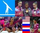 Artistic gymnastics women's individual individual all-around podium, Gabrielle Douglas (United States), Viktoria Komova and Aliya Mustafina (Russia) - London 2012-