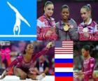 Artistic gymnastics women's individual individual all-around podium, Gabrielle Douglas (United States), Viktoria Komova and Aliya Mustafina (Russia) - London 2012-