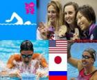 women's swimming 200 metre breaststroke podium, Rebecca Soni (United States), Satomi Suzuki (Japan), Yulia Efimova (Russia) - London 2012 -