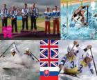 Podium men's C2 slalom canoeing, Tim Baillie and Etienne Stott and David Florence, Richard Hounslow(Reino_Unido), Pavol Hochschorner and Peter Hochschorner (Slovakia) - London 2012-