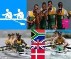 Podium rowing men's lightweight coxless four, South Africa, United Kingdom and Denmark - London 2012-