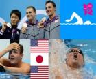 Swimming men's 200 metre backstroke podium, Tyler Clary (United States), Ryosuke Irie (Japan) and Ryan Lochte (United States) - London 2012 -