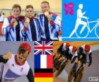 Podium cycling track men's team sprint, United Kingdom, France and Germany - London 2012 -