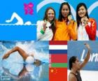 Podium swimming 100 metres women's freestyle, Ranomi Kromowidjojo (Netherlands), Aliaxandra Herasimenia (Belarus) and Tang Yi (China) - London 2012 -