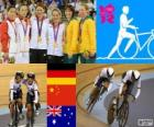 Podium cycling track women's team sprint, Kristina Vogel, Miriam Welte (Germany), Gong Jinjie, Guo Shuang (China) and Kaarle McCulloch, Anna Meares (Australia) - London 2012 -