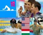 Swimming men's 200 metre individual medley, Michael Phelps, Ryan Lochte (United States) and László Cseh (Hungary) - London 2012 -