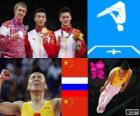 Podium gymnastics in men's Trampoline, Dong Dong (China), Dmitry Ushakov (Russia) and Lu Chunlong (China) - London 2012 -