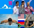 Swimming 100 m style men's Butterfly podium , Michael Phelps (United States), Evgeni Korotyshkin (Russia), Chad le Clos (South Africa) - London 2012 -