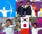 Podium men's archery individual, Oh Jin-Hyek (South Korea), Takaharu Furukawa (Japan) and composer Dai (China) - London 2012 -