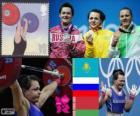 Women's 75 kg weightlifting podium, Svetlana Podobedova (Kazakhstan), Natalia Zabolotnaya (Russia) and Irina Kulesha (Belarus) - London 2012-