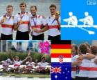 Podium rowing men's quadruple scull, Germany, Croatia and Australia - London 2012 -