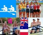Podium Women's double sculls rowing, Anna Watkins, Katherine Grainger (United Kingdom), Kim Crow, Brooke Pratley (Australia) and Magdalena Fularczyk, Julia Michalska (Poland) - London 2012 -