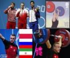 Podium weightlifting men 85 kg, Adrian Frantsevich (Poland), fitness Aujadov (Russia) and (Iran) - London 2012 - Kianoush Rostami