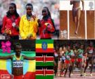 Podium Athletics 10,000 female m, Tirunesh Dibaba (Ethiopia), Sally Kipyego and Vivian Cheruiyot (Kenya) - London 2012 -
