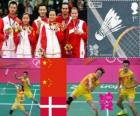 Badminton mixed doubles podium, Zhang Nan and Zhao Yunlei (China), Xu Chen, Ma Jin (China) and Joachim Fischer/Christinna Pedersen (Denmark) - London 2012 -